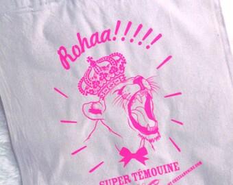 """TOTE BAG """"ROAhhhaarrr"""" Super witness in neon pink!"""
