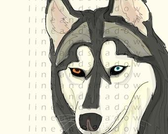 Custom Pet Portrait/ Dog Lovers/Pet memorial/Husky