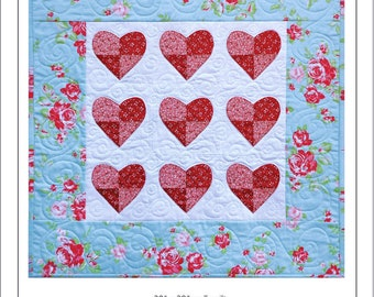 I Heart You, Patched Heart Applique Pattern