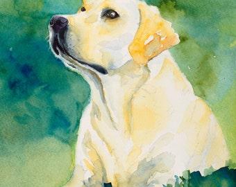yellow lab painting , lab print , dog portrait, dog art, dog memorial, pet loss gift, pet memorial, labrador,dog memorial, dog print canvas