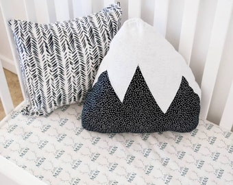 Gender Neutral Nursery Pillow Starry Night Mountain black and White Baby Unisex Woodland Adventure Kids Room accent Pillow Snowy Mountain