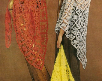 PDF Crochet Pattern Lady's Long Shawls in DK or 4 Ply Instant Download