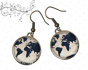 Custom world globe as cabochons, world map, world, universe earrings