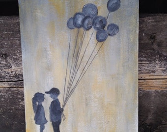 Rustic painting, decoration , cute painting of boy and girl, balloons , first love