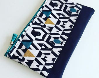 Jacquard and suede pouch