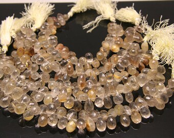 4pcs - natural golden rutilated quartz faceted drop