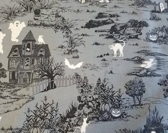 Haunted House Glow Cotton Fabric Sold by the yard