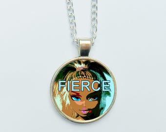 FIERCE Feminits Pendant Necklace Earrings or Pin Badge Funky Punk Pop Art Kick Ass Jewellery Girly Gift Girls Grrrls With Attitude