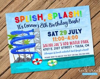 Waterpark Party Invitation, Water Slide Party, Wave Pool, Splash Pool, Inner Tube, Printable Birthday Party Invitation