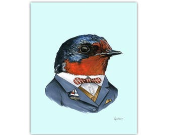 Swallow art print by Ryan Berkley 5x7
