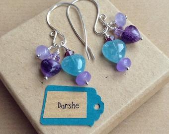 Heart Dangly Earrings, Heart Drop Earrings, Quartz Earrings, Blue Quartz Earrings, Blue Earrings, Gift For Her, Sterling Silver Earrings,