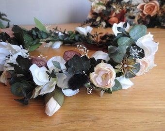 Anenome and Eucalyptus Flower Crown, Rustic Flowers, Boho Crown, Floral Wreath, Rose crown