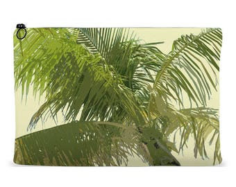 Accessory Pouch | Palm Tree Design clutch | Zippered Accessory Bag | Cosmetics Bag | Kindle Pouch | iPad Pouch | Organizer Bag