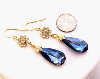 Dark Blue Crystal Earrings, Swarovski Long Blue Bridal Earrings: Wedding Jewelry, Special Occasion Dangle Earrings, 14 Carat Gold Fill