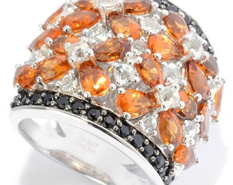 Ster Silver 7.5ctw Hessonite Garnet,White Topaz & Black Spinel  Band Ring, Size 7