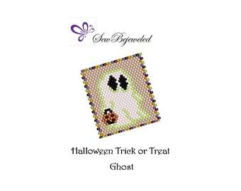 Peyote Pattern - Halloween Trick or Treat Ghost