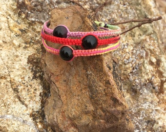 Watermelon Tourmaline Woven Bracelet