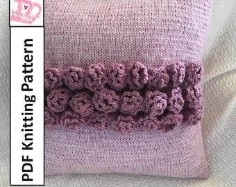 "PDF KNITTING PATTERN, knit pillow cover pattern, rose knitting pattern, 16""x16"", cushion cover knitting pattern"