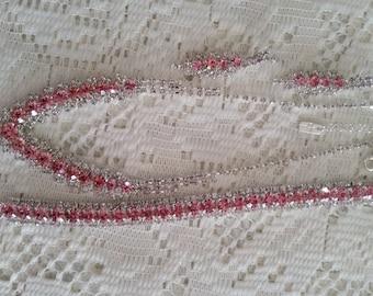 Vintage Silver Tone Pink & Clear Rhinestone Parure Matching Set