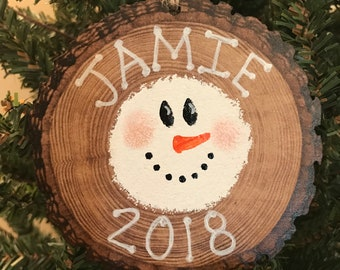 Personalized Ornament, Snowman Christmas Ornament, Rustic Ornament
