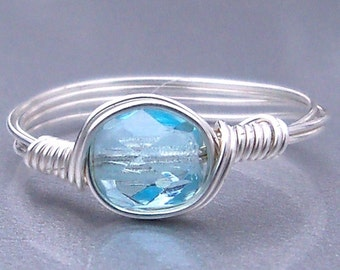 Sky Czech Glass Argentium Sterling Silver Or 14k Gold Filled Wire Wrapped Ring