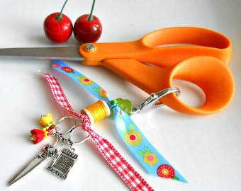 Scissor Fob -  Scissor Charm - Gift for Sewers - Gift for Quilters - I Love Sewing - I Love Quilting  - Guild Gift - Cherry Chick