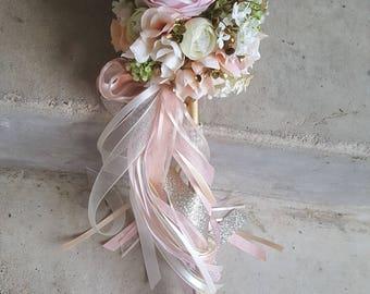 Custom Order for ONE Flower Girl Pom Wand Ivory Blush Pink Champagne