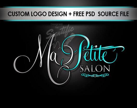 Hair Salon Logo, Salon Sign Logo, Teal and Silver Logo, Hair Salon Logo for Website, Hair Logo for Business Card, High Resolution Logo