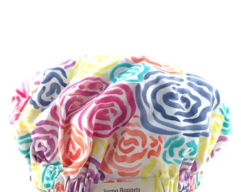 Pink, Yellow, Aqua Floral Print Luxury Satin Lined Sleep Bonnet