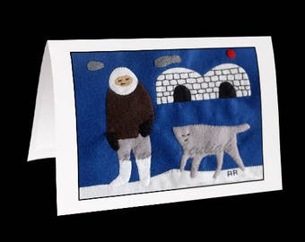 "Inuit Greeting Card #10 ""Noah's Wolf"" by Annie Aculiak"