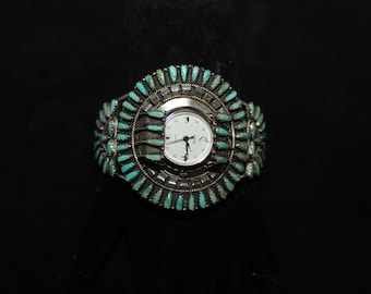 Native American Sterling Silver Turquoise Pettit Point Watch Cuff Bracelet