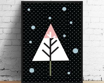 Christmas Tree, Christmas Decor, Kids Room, Christmas Poster, Winter Decor, Christmas Gift, Wall Art, Home Decor, Christmas Print.