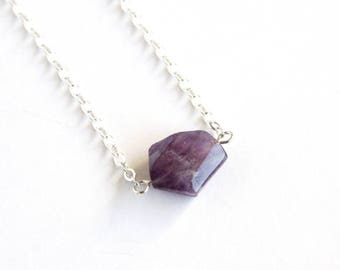 Amethyst Sterling Necklace One Natural Stone February Birthstone Jewelry Sterling Chain Geometric Amethyst Purple Necklace Violet #18653