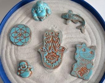 Zen Garden Charm // Desk Toy Accessory // Buddha Statue // Koi Fish // Hamsa // Seed of Life // Lucky Cat  // Meditation // Fairy Garden