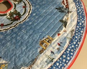 Winter Wonderland Christmas Tree Skirt, quilted Christmas tree skirt, blue Christmas tree skirt, holiday tree skirt, quilted tree skirt
