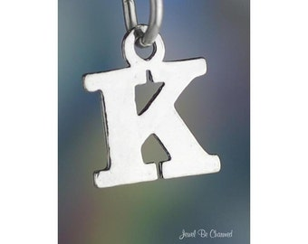 Sterling Silver Small Letter K Charm Initial Capital Letters Solid 925