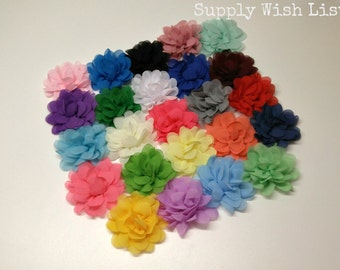 Chiffon flower, Set of 6, 3 inch, YOU PICK, petal flower, DIY hair flower, hair flower, fabric flower, flower for baby headbands