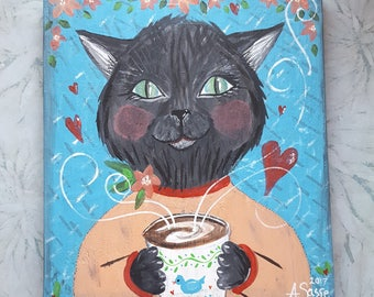 Day Dreams and Cat Schemes,8 x 7 inch Black Kitty Cat With Coffee Wood Wall art plaque,pet,Hearts,Original Artwork,FREE SHIPPING