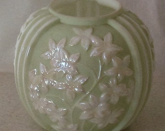 Phoenix Art Glass Sculptured Star Flower Soft Pale Celery with White Iridescent Floral