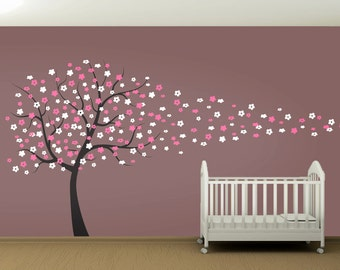 Cherry Blossom Tree Blowing in the Wind Wall Decal - Kids Nursery Living Room Bedroom