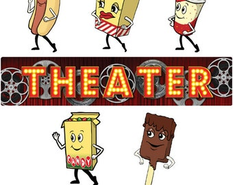 Theater Reels and Dancing Snacks Decal Set - #40828