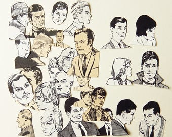 Vintage men, black and white, paper cut outs, die cut style, cardmaking, journaling,  scrapbooking,  smash books, embellishment  PE895