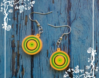 Paper Quilled Yellow/Green/Orange Earrings,  paper quilling earrings, quilled earrings, paper jewelry, Yellow/Green/Orange Earrings,handmade