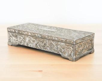 Bijoux vintage boite • Godinger argent • velours gris doublé • poitrine • Relief Floral fleuri • • victorien Baroque Rococo anneau souvenir