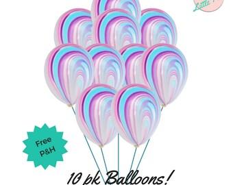 10 x Unicorn Pastel Marble Balloons Swirl Party Decorations