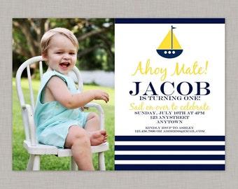 Nautical Invitation, Nautical Birthday Invitation, Nautical Birthday Party, Printable