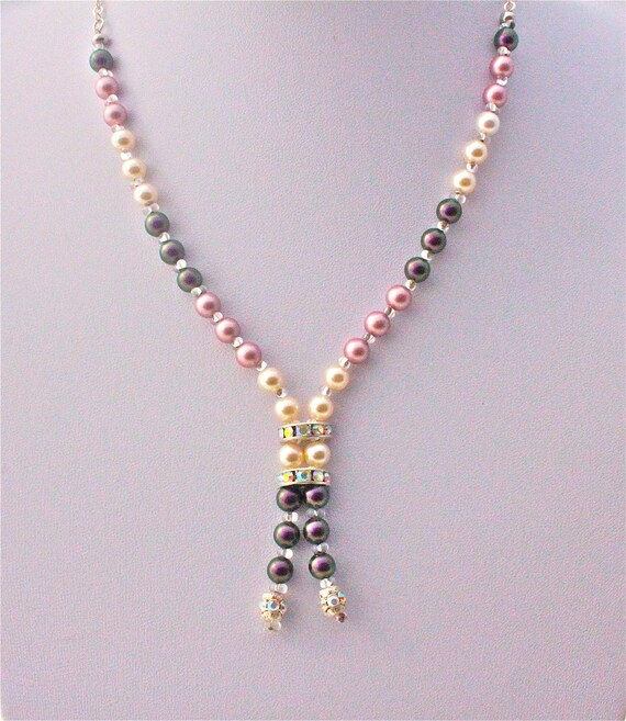 necklace for wedding with swarovski strassed spacer and pearls, silver chain