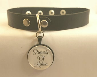 BDSM Jewellery Quotes Custom Handmade Personalised Any Your Name Property Of Daddy Master Mistress Black Leather DDLG Day Collar