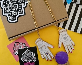 Fortune Teller Hands with Crystal Ball. Laser Cut Acrylic Necklace. Occult Necklace. Witchcraft. Misfit Makes.