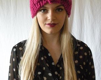 Chunky Cozy Knitted Turban Headband Pink Womens Accessory